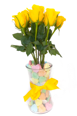 Yellow Roses with Colourful Heart Shaped Lollies