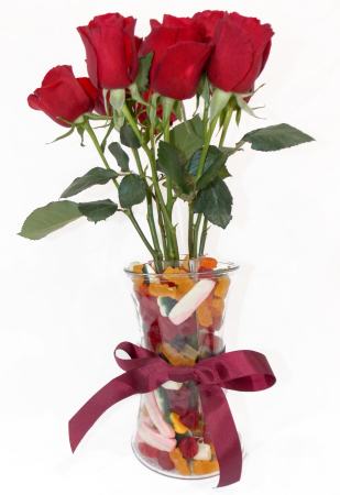 Red Roses with Mixed Lollies