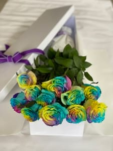 Rainbow Roses in a Box